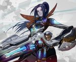 1girl badge blue_eyes blue_hair bodysuit breasts caitlyn_(league_of_legends) gun huge_weapon kalma league_of_legends long_hair medium_breasts pale_skin ponytail pulsefire_caitlyn rifle tagme weapon