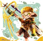 1boy backwards_hat baseball_cap black_footwear black_shorts blonde_hair camouflage camouflage_shirt domino_mask e-liter_3k_(splatoon) green_background grin harutarou_(orion_3boshi) hat highres holding holding_weapon ink_tank_(splatoon) inkling leg_up logo long_sleeves looking_at_viewer male_focus mask outside_border paint_splatter pointy_ears scope shirt shoes shorts single_vertical_stripe smile splatoon splatoon_1 standing standing_on_one_leg tentacle_hair twitter_username weapon yellow_hat yellow_shirt