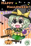 1girl :3 :d black_eyes black_hat black_legwear chibi collared_shirt commentary_request dated dribbling english eyebrows_visible_through_hair frilled_shirt_collar frilled_sleeves frills full_body gradient gradient_background green_hair green_skirt hair_between_eyes halloween hat hat_ribbon heart heart_of_string highres holding jack-o'-lantern komeiji_koishi lace_border long_sleeves looking_at_viewer noai_nioshi open_mouth ribbon shirt short_hair signature skirt smile solo star striped third_eye touhou vertical-striped_background vertical_stripes wide_sleeves wing_collar witch_hat yellow_ribbon yellow_shirt |_|