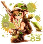 1boy black_footwear black_shirt black_shorts closed_mouth dated domino_mask full_body green_eyes green_hair hair_slicked_back harutarou_(orion_3boshi) helmet holding holding_weapon ink_tank_(splatoon) inkling looking_at_viewer male_focus mask n-zap_(splatoon) paint_splatter pointy_ears scrunchie shirt shoes short_hair short_sleeves shorts single_vertical_stripe sitting solo splatoon splatoon_1 striped striped_shirt tentacle_hair topknot vertical-striped_shirt vertical_stripes weapon white_background