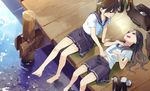 2girls bag barefoot brown_hair feet highres long_hair looking_at_another lying multiple_girls on_back open_mouth original outdoors school_bag school_uniform shoes_removed short_hair sitting toes touching water wooden_floor yuri yuu_(yu1you2iu3)