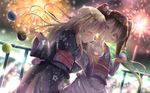 2girls alternate_costume bangs blonde_hair blurry blush bokeh bow brown_eyes brown_hair commentary_request cotton_candy depth_of_field dutch_angle eating eyebrows_visible_through_hair eyes_closed fence festival fireworks flat_chest floral_print food hair_bow highres holding holding_food ice_cream japanese_clothes kantai_collection kimono libeccio_(kantai_collection) long_hair long_sleeves looking_at_viewer mouth_hold multiple_girls na!?_(naxtuyasai) night night_sky obi outdoors profile ro-500_(kantai_collection) sash sharing_food side-by-side sky star_(sky) twintails wide_sleeves yukata