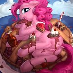 2017 anthro anus big_eyes blue_eyes collaboration detailed_background equine eyelashes female food friendship_is_magic fur hair hi_res horse licking looking_at_viewer looking_back lumineko lying mammal my_little_pony on_side pie pink_fur pink_hair pink_pussy pinkie_pie_(mlp) pussy raised_leg signature solo sweets tongue tongue_out vest_(artist)