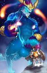 absurd_res anthro aurelion_sol_(lol) balls big_penis canine cum cum_drip cum_on_stomach deity dripping duo glowing glowing_nipples half-erect hi_res holding_penis humanoid_penis league_of_legends magic male male/male mammal marlon.cores muscular muscular_male nipples pantheon_(lol) penis riot_games size_difference standing surprise uncut vein video_games