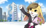 anthro bouquet brown_hair building business_suit clothing female fluffy fur green_eyes hair lagomorph mammal official_art open_mouth rabbit solo suit tenshoku_safari unknown_artist usagine_(tenshoku_safari) waving white_fur yellow_fur
