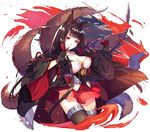 1girl abusoru akagi_(azur_lane) animal_ears azur_lane bangs black_gloves black_hair black_legwear breasts cleavage closed_mouth cropped_legs fire fox_ears fox_tail gloves highres japanese_clothes large_breasts long_hair miniskirt multiple_tails partly_fingerless_gloves red_eyes red_skirt shiny shiny_hair simple_background skirt smile solo tail thighhighs white_background wide_sleeves