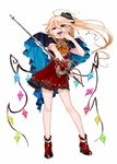 1girl adapted_costume ascot bare_arms bare_legs blonde_hair blue_nails boots cape contrapposto dress flandre_scarlet full_body gotoh510 hair_between_eyes hand_up head_tilt high_heels highres holding long_hair looking_at_viewer nail_polish open_mouth pointy_ears rapier red_dress red_eyes red_footwear short_dress simple_background smile solo standing sword teeth touhou weapon white_background wings