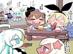 6+girls ahoge animal_ears aqua_eyes bangs blonde_hair blue_eyes blunt_bangs brown_hair bunny_ears chef_hat chibi chopsticks cloak collar comic commentary_request dress eating elbow_gloves enemy_aircraft_(kantai_collection) eyes_closed fake_animal_ears fan fish flower folded_ponytail food_in_mouth fur_trim gloves grilling hachimaki hair_between_eyes hair_flower hair_ornament hairband happi hat headband headgear holding_chopsticks horns japanese_clothes kantai_collection long_hair multiple_girls nejiri_hachimaki northern_ocean_hime northern_water_hime open_mouth paper_fan rensouhou-chan rice rice_bowl sailor_dress sako_(bosscoffee) saury shimakaze_(kantai_collection) shinkaisei-kan sidelocks sitting sitting_on_head sitting_on_person smile submarine_hime tan translation_request u-511_(kantai_collection) white_hair yukikaze_(kantai_collection)