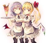 2girls absurdres alternate_costume apron bangs bat_wings black_legwear blonde_hair blue_dress blush breasts cowboy_shot detached_collar dress enmaided eyebrows_visible_through_hair flandre_scarlet food frilled_dress frills hair_between_eyes hand_up highres ice_cream lavender_hair layered_dress looking_at_viewer maid maid_apron maid_headdress multiple_girls neno_(nenorium) one_eye_closed pantyhose pink_background puffy_short_sleeves puffy_sleeves red_eyes remilia_scarlet short_dress short_hair short_sleeves side_ponytail sidelocks small_breasts smile thighhighs touhou tray waist_apron white_background white_dress wings zettai_ryouiki