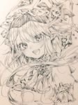 1girl ascot bangs blush brooch fang_out flandre_scarlet gotoh510 graphite_(medium) greyscale hat highres jewelry looking_at_viewer mob_cap monochrome open_mouth pointy_ears short_hair short_sleeves side_ponytail smile solo sparkle touhou traditional_media wings