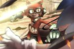 2017 anthro big_head black_nose canine clothing custom_character_(sonic_forces) doyourwork_now eyewear fur glasses gloves hedgehog hi_res male mammal sharp_teeth simple_background sonic_(series) sonic_forces sonic_the_hedgehog teeth toony video_games wolf
