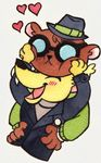 <3 2017 angus_(nitw) anthro bear blush button_(disambiguation) canine claws clothed clothing couple_(disambiguation) cute daww duo eyewear fangs fox fully_clothed glasses gregg_(nitw) jacket leather leather_jacket male mammal modgur night_in_the_woods open_mouth pins smile squish sweater teeth toony tuft undershirt