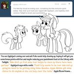 apple apple_bloom_(mlp) arthropod bitterplaguerat butterfly cutie_mark dialogue earth_pony english_text equine female food friendship_is_magic fruit group hat horn horse insect loki_(bitterplaguerat) male mammal my_little_pony pony ponytail sad saddle_bag text unicorn