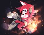 2017 anthro big_head black_nose canine clothing custom_character_(sonic_forces) eyewear fur glasses gloves iroha_sss male mammal simple_background sonic_(series) sonic_forces toony video_games wolf