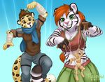 anthro ash_(ashkelling) body_control brown_eyes brown_hair chibi-marrow clothed clothing duo feline female fur green_eyes hair keilani leopard male mammal mind_control puppet red_hair scarf simple_background smile spots spotted_fur tiger