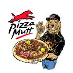 5_fingers anthro billmund canine clothed clothing dog food hat hi_res holding_food holding_object humor looking_at_viewer male mammal messy ok_sign parody pizza pizza_hut pun simple_background smile solo standing visual_pun white_background