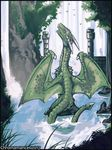2017 chromamancer dragon green_scales horn outside scales solo tongue tongue_out water waterfall wings