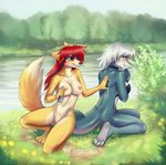 2016 anthro blue_eyes blush breasts canine casual_nudity collar countershade_face countershade_tail countershade_torso countershading cyana_(code-blocker) detailed_background dipstick_tail duo female fish fox fur hair imanika kneeling long_hair looking_back lotion mammal marine multicolored_fur multicolored_tail nipples nude on_one_knee outside pussy red_hair river rubbing shark short_hair smile sunscreen tree two_tone_fur water white_hair