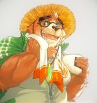 2019 anthro brown_fur eyewear food fur glasses hat humanoid_hands male mammal oak oaks16 onigiri orchish_(pixiv) overweight overweight_male simple_background solo straw_hat towel ursid volos