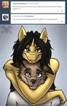2017 amber_steel anthro black_eyebrows black_hair canine clothed clothing coyote cute digital_media_(artwork) duo equine eyebrows female fur grey_background grey_eyebrows grey_eyes grey_fur grey_nose hair hi_res horn hug long_hair looking_at_viewer male male/female mammal metalfoxxx notched_ear shirt simple_background smile tumblr unicorn unicorn_horn watermark white_clothing white_shirt white_topwear yellow_eyes yellow_fur yellow_horn