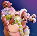 alice_in_wonderland belly binding cheshire_cat coiling corn_snake cuddling embrace hayrider intimate male male/male muscular naga overweight pawpads paws reptile romantic scales scalie slightly_chubby snake stripes