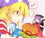 2girls american_flag_dress blonde_hair bowl bowl_hat cheese closed_mouth clownpiece flying_sweatdrops food hair_between_eyes hamburger hat japanese_clothes jester_cap kimono multiple_girls musical_note neck_ruff needle polka_dot purple_hair purple_hat red_eyes red_kimono salad short_sleeves simple_background smile spoken_flying_sweatdrops spoken_musical_note star star_print striped sukuna_shinmyoumaru tama_(soon32281) tomato touhou