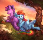 2017 book butt butt_pillow caboni32 colored cutie_mark duo equine feathered_wings feathers female feral friendship_is_magic grass hair half-closed_eyes hi_res hooves horn mammal multicolored_hair my_little_pony outside pegasus rainbow_dash_(mlp) rainbow_hair reading smile tree twilight_sparkle_(mlp) underhoof vest_(artist) winged_unicorn wings