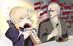 1girl 2boys archer artoria_pendragon_(all) black_bow blonde_hair blush_stickers bow commentary_request dark_skin eating facial_hair fate/grand_order fate_(series) food frown grey_hair hair_bow haori japanese_clothes juliet_sleeves long_sleeves multiple_boys open_mouth puffy_sleeves saber_alter shaded_face sparkle sweat tadabone translation_request wagashi white_hair yagyuu_munenori_(fate/grand_order) youkan_(food)
