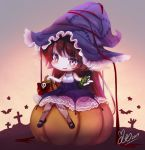 1girl akira_b animal bangs bare_arms bare_shoulders bat black_footwear blush bow brown_hair candy_wrapper character_request chibi commentary_request dress eyebrows_visible_through_hair halloween_basket hat league_of_legends long_hair mary_janes parted_lips pumpkin purple_dress purple_eyes purple_hat red_bow shoes signature sitting skull sleeveless sleeveless_dress solo star stitches very_long_hair
