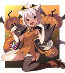 1girl animal_ears azur_lane bangs bare_arms basket bat_wings biting biting_clothes black_cape black_legwear black_neckwear black_wings blush border bow bowtie candy cape cat_ears choker dress eyebrows eyebrows_visible_through_hair eyelashes eyes_visible_through_hair fang flat_chest flight_deck food full_body gradient gradient_background grey_eyes hair_between_eyes halloween halloween_costume jack-o'-lantern legs_apart lollipop looking_to_the_side one_side_up open_mouth orange_bow orange_dress orange_neckwear pumpkin short_dress short_hair shouhou_(azur_lane) single_thighhigh sitting sleeveless sleeveless_dress solo striped striped_legwear thighhighs tongue vertical-striped_legwear vertical_stripes wariza white_border white_hair wings