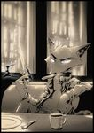 2017 anthro bare_chest belt booth canine clothed clothing cup disney fork fox holding_object holding_weapon knife male mammal monochrome nick_wilde open_jacket plate reclining sepia sitting smile solo thewyvernsweaver weapon zootopia