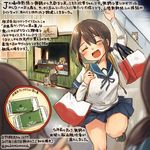 3girls ^_^ ^o^ animal bag blue_sailor_collar blue_skirt brown_hair colored_pencil_(medium) commentary_request dated eyes_closed fubuki_(kantai_collection) hair_between_eyes hamster kantai_collection kirisawa_juuzou miyuki_(kantai_collection) multiple_girls numbered open_mouth pleated_skirt sailor_collar school_uniform serafuku shirayuki_(kantai_collection) shopping_bag short_hair short_ponytail short_sleeves skirt smile traditional_media translation_request twitter_username