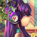 1girl bare_shoulders blurry blurry_background doki_doki_literature_club drinking drinking_straw eyebrows_visible_through_hair facing_to_the_side hannah_santos headphones highres lips long_hair looking_at_viewer looking_to_the_side purple_eyes purple_hair shoulderless sidelocks solo star star-shaped_pupils straw sweater symbol-shaped_pupils turtleneck turtleneck_sweater upper_body yuri_(doki_doki_literature_club)