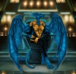 2018 4_toes 5_fingers anthro barefoot blue_eyes blue_scales clothed clothing detailed_background digital_media_(artwork) dragon female membranous_wings scales scalie selianth toes western_dragon wings