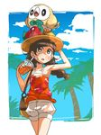 1girl bag black_hair braid cloud drink drinking_straw flower hand_on_headwear handbag hat hat_flower highres long_hair meka_(77111994) mizuki_(pokemon_ultra_sm) open_mouth orange_shirt palm_tree pokemon pokemon_(creature) pokemon_(game) pokemon_ultra_sm rowlet shirt shorts sky sun_hat tank_top tree twin_braids white_shorts