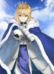 ahoge armor armored_dress artoria_pendragon_(all) blonde_hair blue_cape blue_skirt braid breastplate cape capelet cloud crown fate/grand_order fate_(series) french_braid fur-trimmed_cape fur_trim green_eyes hair_between_eyes hand_on_own_chest highres outstretched_arm saber skirt smile z_w_(adsfe)