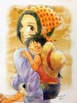 1boy 1girl age_difference artist_request makino_(one_piece) monkey_d_luffy one_piece smile source_request