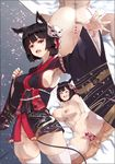 1boy 1girl :d agovitch animal_ears armpits arms_behind_back ass azur_lane bell black_hair blush breasts censored clenched_hand cowboy_shot drooling erect_nipples eyebrows_visible_through_hair fang floral_print furisode groin hair_ornament head_tilt heart heart_censor hetero highres implied_fellatio japanese_clothes jingle_bell kimono kimono_skirt large_breasts long_sleeves looking_at_viewer lying motion_lines multiple_views navel no_panties nude on_back open_mouth outstretched_arm pussy saliva sex short_hair skindentation smile spread_legs sweat testicles thighhighs vaginal white_legwear yamashiro_(azur_lane)