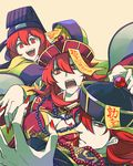 2girls breasts claw_pose cleavage fingernails fire_emblem fire_emblem:_monshou_no_nazo fire_emblem:_shin_ankoku_ryuu_to_hikari_no_tsurugi hair_between_eyes hair_over_one_eye halloween halloween_costume hat jewelry jiangshi jiangshi_costume large_breasts long_fingernails long_hair long_sleeves looking_at_viewer maria_(fire_emblem) mikimachi minerva_(fire_emblem) misheil_(fire_emblem) multiple_girls nail_polish necklace ofuda open_mouth pearl_necklace profile red_eyes red_hair red_nails robe short_hair siblings wide_sleeves