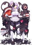 1girl apron bangs black_footwear braid breasts closed_mouth collared_shirt dated elbow_gloves eldritch_abomination extra_eyes extra_mouth eyebrows_visible_through_hair fangs gloves hair_ribbon highres large_breasts long_hair looking_at_viewer maid maid_apron maid_headdress melting monster_girl monster_girl_encyclopedia original pantyhose puffy_short_sleeves puffy_sleeves purple_hair red_eyes ribbon shirt shoes short_sleeves signature simple_background skirt skirt_lift slime smile solo standing tress_ribbon white_background white_gloves white_legwear wing_collar yui_sora