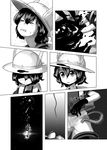 >_< 2girls backpack bag black_cerulean_(kemono_friends) black_gloves bucket_hat clenched_teeth comic gloves greyscale hair_between_eyes hat hat_feather highres kaban_(kemono_friends) kemono_friends monochrome multiple_girls pantyhose print_gloves print_neckwear rope serval_(kemono_friends) serval_print shaded_face short_hair short_sleeves shorts silent_comic sweat teeth unconscious v-shaped_eyebrows welt_(kinsei_koutenkyoku)