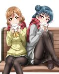 2girls bangs baozi bench black_footwear black_legwear blue_hair blush bow bowtie brown_hair commentary_request crossed_ankles eating eyebrows_visible_through_hair food hair_ornament hairclip holding holding_food knees_up kunikida_hanamaru loafers long_hair long_sleeves love_live! love_live!_sunshine!! miniskirt multiple_girls napkin panties panties_under_pantyhose pantyhose pantyshot pantyshot_(sitting) plaid plaid_scarf pleated_skirt purple_eyes red_scarf scarf school_uniform shoes side_bun simple_background sitting sitting_on_bench skirt thighband_pantyhose tsushima_yoshiko underwear white_background yellow_eyes yellow_neckwear yopparai_oni