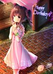 1girl bare_shoulders bench blush brown_eyes brown_hair closed_mouth commentary_request crepe day dosu_(yodosu) dress flower food green_scrunchie hair_flower hair_ornament hair_ribbon happy_birthday holding holding_food idolmaster idolmaster_cinderella_girls looking_at_viewer looking_to_the_side off-shoulder_dress off_shoulder ogata_chieri outdoors park_bench pink_dress pink_flower pink_ribbon puffy_short_sleeves puffy_sleeves ribbon scrunchie short_sleeves sign smile solo striped striped_ribbon twintails walking white_flower wrist_scrunchie
