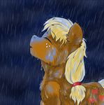 2017 applejack_(mlp) blonde_hair brownbush cutie_mark drawing earth_pony equine eyes_closed female freckles friendship_is_magic fur hair horse mammal my_little_pony open_mouth pony raining simple_background solo solo_focus water wet