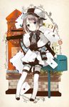 1girl animal_ears bangs belt_pouch blue_eyes book capelet commentary_request ears_down english envelope full_body grey_hair hair_ornament hairclip hat highres horns jacket long_sleeves looking_at_viewer mailbox mailman neck_ribbon open_book original outstretched_arm plaid postage_stamp postbox ribbon shoes short_hair shorts shorts_under_skirt skirt smile solo tareme thighhighs white_legwear x_hair_ornament yuzuyomogi