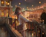 1girl bag balcony blue_eyes bridge brown_hair city city_lights closed_mouth enpera feet_out_of_frame from_side green_eyes jacket lamppost light long_hair long_sleeves looking_at_viewer looking_to_the_side night original outdoors power_lines red_scarf reflection scarf sho_(shoichi-kokubun) shoulder_bag smile solo standing tree white_jacket window