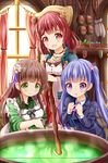 3girls :d :o ama_usa_an_uniform apron atelier_(series) atelier_sophie bangs blunt_bangs blush breasts brown_hair cauldron closed_mouth commentary_request crossover cup curtains eyebrows_visible_through_hair flower formal gochuumon_wa_usagi_desu_ka? green_eyes green_kimono green_tea hair_flower hair_ornament highres indoors japanese_clothes jewelry kimono lavender_hair long_hair long_sleeves looking_at_viewer maid_apron medium_breasts multiple_crossover multiple_girls necklace new_game! open_mouth paper pink_flower polka_dot_trim purple_eyes purple_ribbon red_eyes red_hair ribbon short_hair small_breasts smile sophie_neuenmuller spilling staff striped striped_kimono suit suzukaze_aoba tea twintails ujimatsu_chiya white_apron white_flower wide_sleeves window yunomi zenon_(for_achieve)
