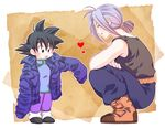 2boys :o bare_arms belt black_eyes black_hair black_shirt boots brown_background chinese_clothes crossed_arms dragon_ball dragonball_z expressionless eyes_closed happy heart jacket kneeling looking_down male_focus multiple_boys open_mouth pants purple_hair rochiko_(bgl6751010) shirt simple_background sleeveless smile son_goten spiked_hair tied_hair trunks_(dragon_ball) white_background