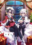 2girls ahoge bell black_legwear boots bow capelet caster_(fate/zero) character_doll christmas christmas_tree dress fate/grand_order fate_(series) fur_trim gift green_bow hair_bow hair_ribbon headpiece highres indoors jeanne_d'arc_(alter)_(fate) jeanne_d'arc_(fate)_(all) jeanne_d'arc_alter_santa_lily legs_crossed multiple_girls night ribbon shiguru short_dress short_hair silver_hair sitting snow striped striped_ribbon thighhighs white_dress white_footwear window yellow_eyes