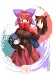 1girl blue_eyes blue_hair blush blush_stickers bow breasts brown_hair carrying covered_mouth drill_hair furim hair_bow highres holding imaizumi_kagerou long_hair long_sleeves looking_at_another looking_to_the_side medium_breasts red_cloak red_eyes red_hair red_skirt sekibanki shiny shiny_clothes shiny_hair shiny_skin skirt solo touhou wakasagihime wolf_ear yukkuri_shiteitte_ne